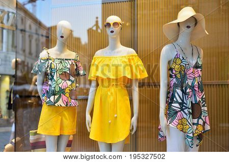 Showcase with a new collection of summer clothes.