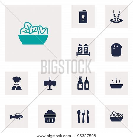 Set Of 12 Restaurant Icons Set.Collection Of Catsup, Canape, Broth And Other Elements.