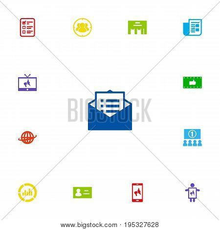 Set Of 13 Advertising Icons Set.Collection Of Journal, Monitoring, World And Other Elements.