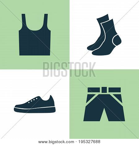 Dress Icons Set. Collection Of Sneakers, Half-Hose, Singlet And Other Elements. Also Includes Symbols Such As Cloth, Gumshoes, Half-Hose.
