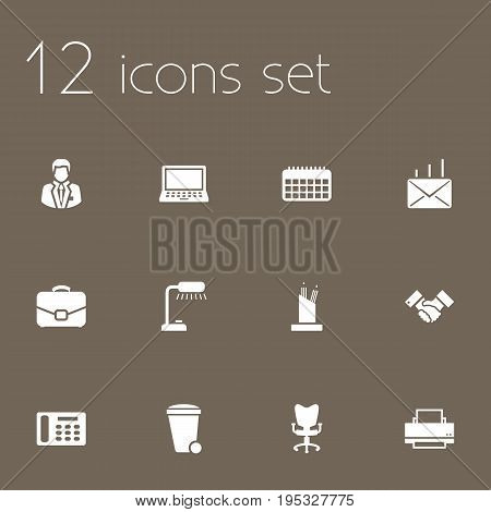 Set Of 12 Bureau Icons Set.Collection Of Trash Can, Laptop, Mail And Other Elements.