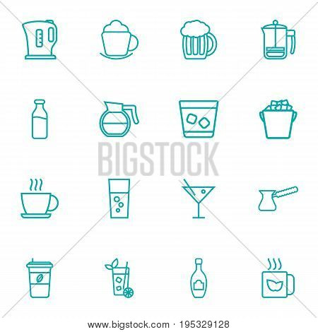 Set Of 16 Beverages Outline Icons Set.Collection Of Coffee, Fizzy Water, Whiskey And Other Elements.