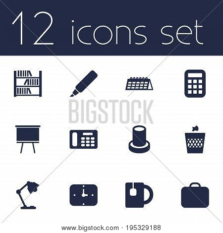 Set Of 12 Office Icons Set.Collection Of Label , Stand , Date Elements.
