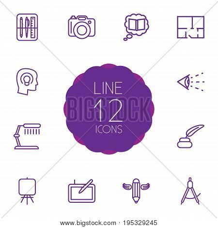 Set Of 12 Creative Outline Icons Set.Collection Of Easel, Inkwell With Pen, Dslr Camera And Other Elements.