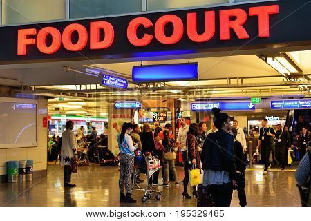 ISTANBUL TURKEY - APRIL 2017: food courd at the Ataturk airport