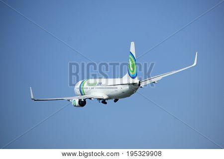 Amsterdam the Netherlands - May 6th 2017: PH-HSJ Transavia Boeing 737 takeoff from Polderbaan runway Amsterdam Schiphol Airport