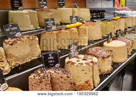 JERUSALEM ISRAEL - APRIL 2017: Halva for sale at Machane Yehuda Market.
