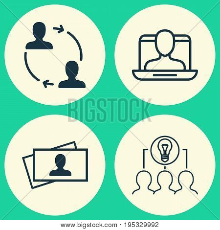Business Icons Set. Collection Of Collaborative Solution, Calling Card, Cooperation And Other Elements. Also Includes Symbols Such As Trade, People, Partnership.