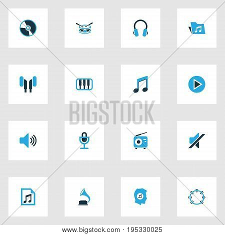 Audio Colorful Icons Set. Collection Of Note, Volume, Play And Other Elements. Also Includes Symbols Such As Folder, Timbrel, Meloman.