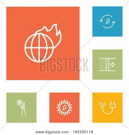 Set Of 6 Ecology Outline Icons Set.Collection Of Air, Renewable Energy, Ecologist And Other Elements.