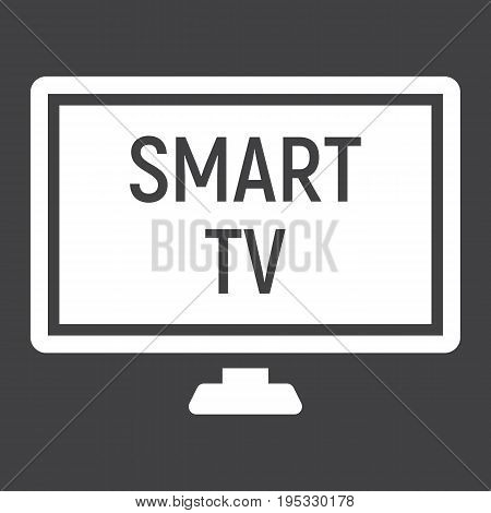 Smart TV solid icon, household and appliance, vector graphics, a glyph pattern on a black background, eps 10.