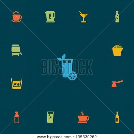 Set Of 13 Beverages Icons Set.Collection Of Cream, Fizzy Water, Cup And Other Elements.