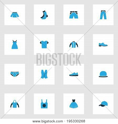 Dress Colorful Icons Set. Collection Of Vest, Jacket, Sneakers And Other Elements. Also Includes Symbols Such As Shirt, Half-Hose, Gumshoes.