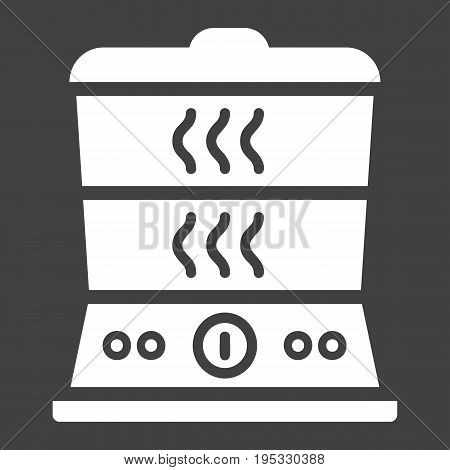 Food Steamer solid icon, kitchen and appliance, vector graphics, a glyph pattern on a black background, eps 10.