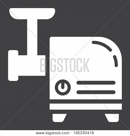 Meat Grinder solid icon, household and appliance, vector graphics, a glyph pattern on a black background, eps 10.