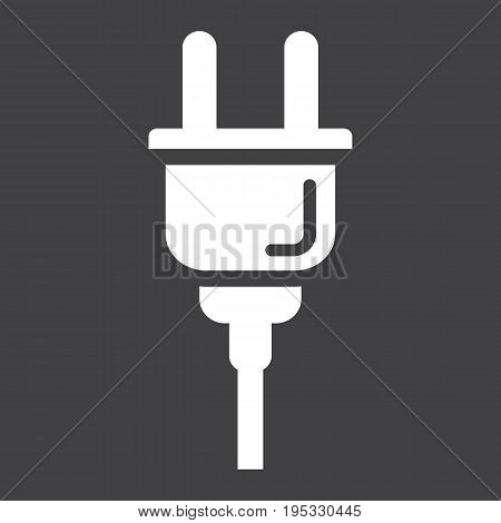 Electric plug solid icon, power and appliance, vector graphics, a glyph pattern on a black background, eps 10.
