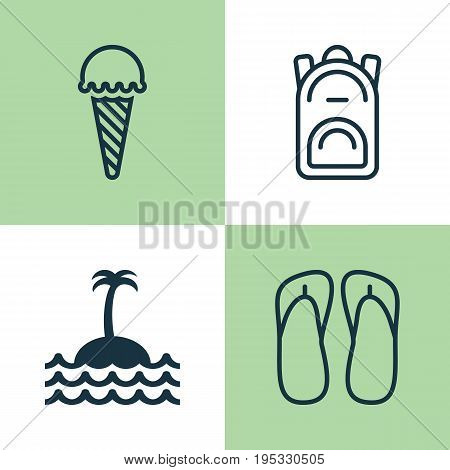 Tourism Icons Set. Collection Of Rucksack, Frozen Food, Reef And Other Elements. Also Includes Symbols Such As Ice, Palm, Cream.