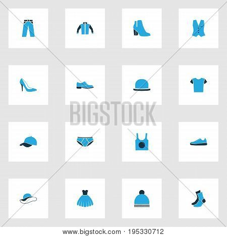 Garment Colorful Icons Set. Collection Of Trousers, Panties, Panama And Other Elements. Also Includes Symbols Such As Beanie, Vest, Underwear.