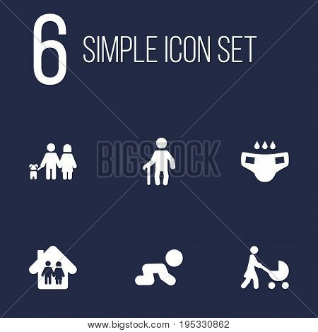 Set Of 6 Family Icons Set.Collection Of Nappy, Walking, Creep Baby And Other Elements.