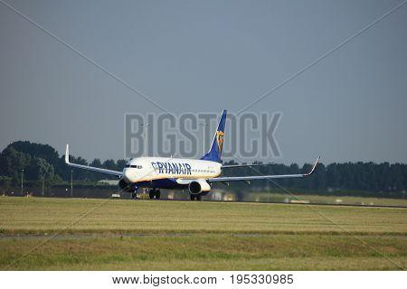 Amsterdam the Netherlands - July 6th 2017: EI-FTW Ryanair Boeing 737-800 takeoff from Polderbaan runway Amsterdam Schiphol Airport