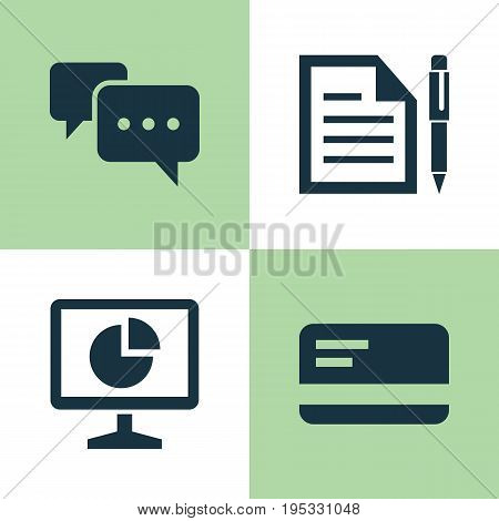 Business Icons Set. Collection Of Chatting, Statistics, Payment And Other Elements. Also Includes Symbols Such As Monitor, Page, Message.