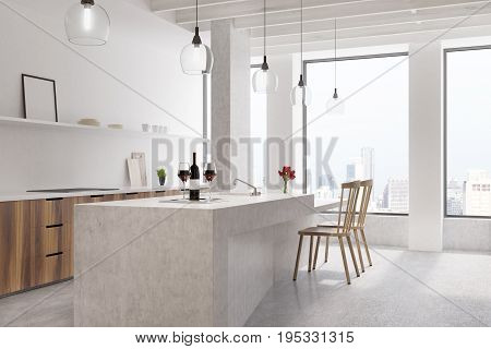 Marble bar in a white kitchen with wooden cabinets two chairs shelves with a framed vertical photo frame and two large windows. 3d rendering mock up