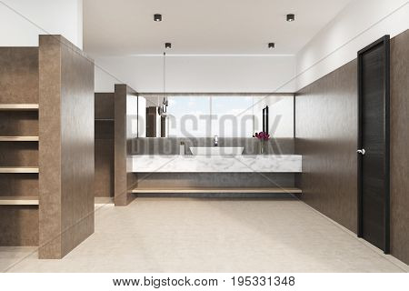 Brown Bathroom With A Marble Sink, Front