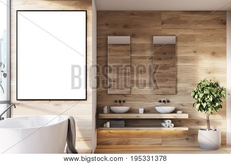 Wooden Bathroom Interior, Picture, Tree