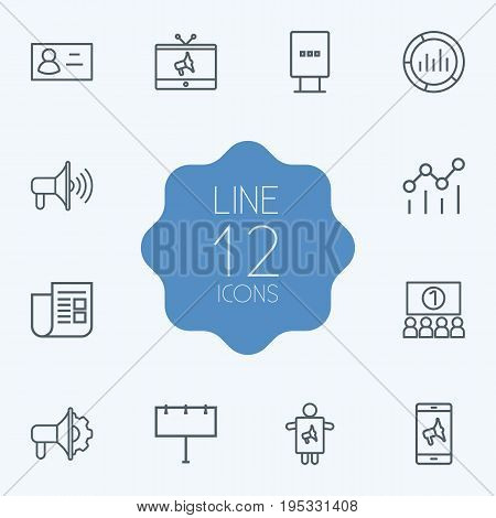 Set Of 12 Trade Outline Icons Set.Collection Of Worker, Business Card, Market And Other Elements.