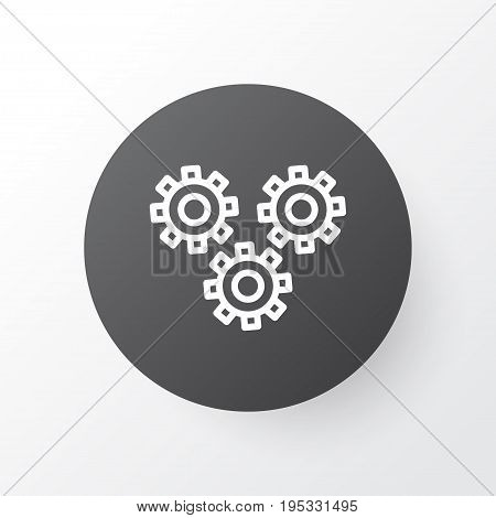 Cogwheels Icon Symbol. Premium Quality Isolated Mechanism Parts Element In Trendy Style.