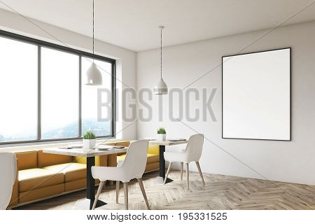 White cafe interior with wooden floor square marble tables white chairs and a framed vertical poster hanging on a wall. Corner. 3d rendering mock up