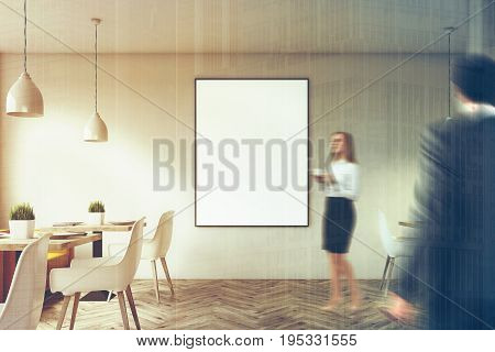 White cafe interior with wooden floor square marble tables white chairs and a framed vertical poster hanging on a wall. 3d rendering mock up toned image double exposure