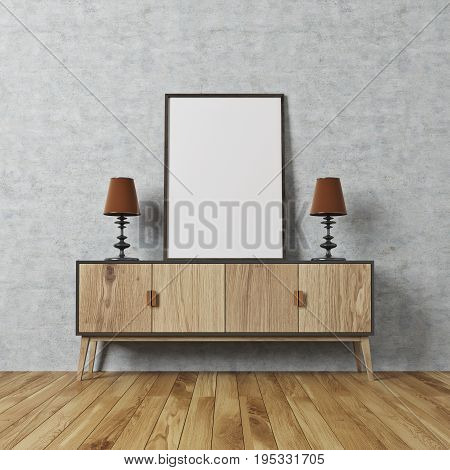Concrete Wall Room, Poster On A Cabinet