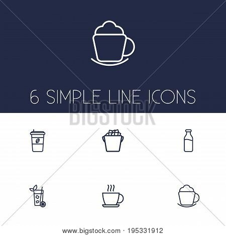 Set Of 6 Beverages Outline Icons Set.Collection Of Ice Bucket, Dairy, Mojito And Other Elements.