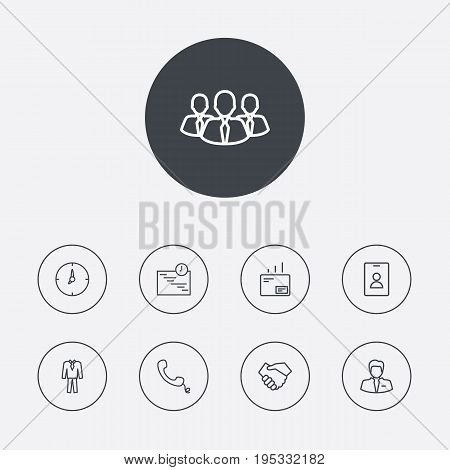 Set Of 9 Management Outline Icons Set.Collection Of Badge, Businessman, Team And Other Elements.