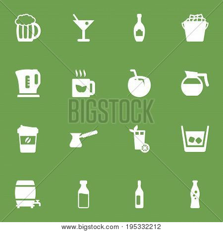 Set Of 16 Beverages Icons Set.Collection Of Cask, Fridge, Wine And Other Elements.