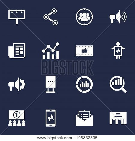 Set Of 16 Commercial Icons Set.Collection Of Application, Inbox, Monitoring And Other Elements.
