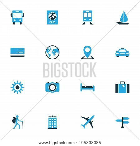 Exploration Colorful Icons Set. Collection Of Map Pin, Airplane, Bank Card And Other Elements. Also Includes Symbols Such As Tourist, Bus, Traveler.