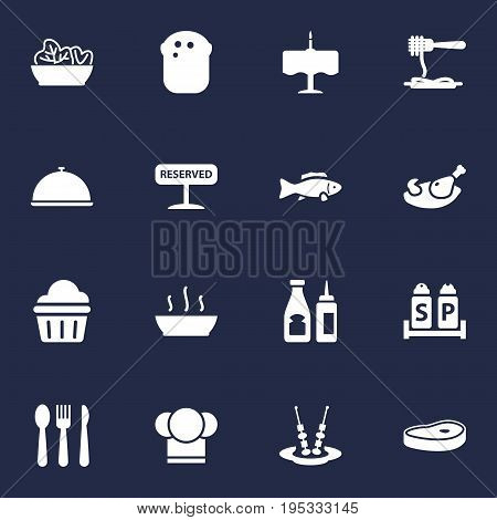 Set Of 16 Cafe Icons Set.Collection Of Vermicelli, Condiments, Grill And Other Elements.