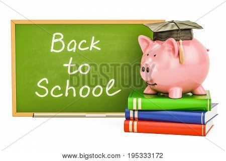 Back to school concept. Piggy bank with books and blackboard 3D rendering