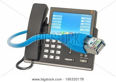 Communication concept. IP phone with lan cable 3D rendering