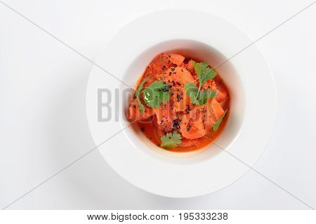 Traditional recipe for tomatoes in Korean. The concept of the menu. On a white background. Flat Lay.
