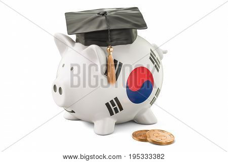 Savings for education in South Korea concept 3D rendering isolated on white background