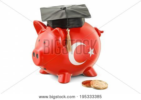 Savings for education in Turkey concept 3D rendering isolated on white background