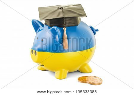 Savings for education in Ukraine concept 3D rendering isolated on white background