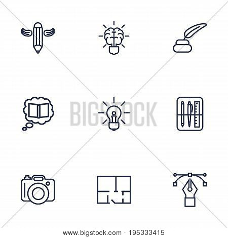 Set Of 9 Constructive Outline Icons Set.Collection Of Property Plan, Brain, Knowledge And Other Elements.