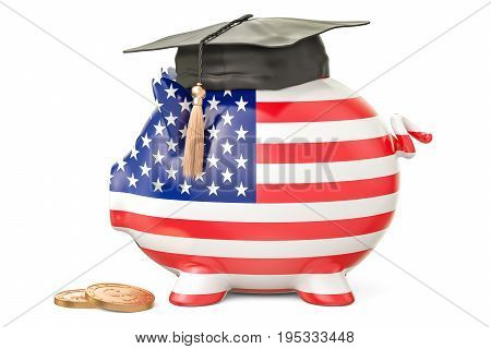 Savings for education in United States concept 3D rendering isolated on white background
