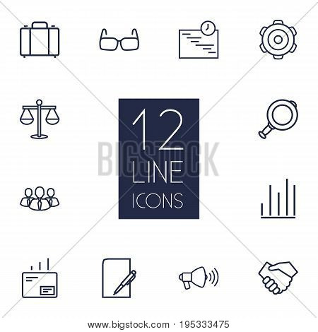 Set Of 12 Management Outline Icons Set.Collection Of Loudspeaker, Mail, Gear And Other Elements.