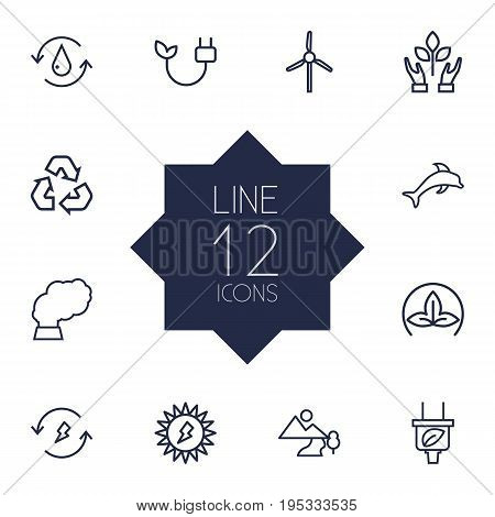 Set Of 12 Atmosphere Outline Icons Set.Collection Of Pollution, Nature, Eco And Other Elements.