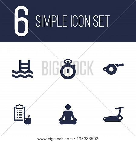 Set Of 6 Bodybuilding Icons Set.Collection Of Meditate, Treadmill, Regime And Other Elements.